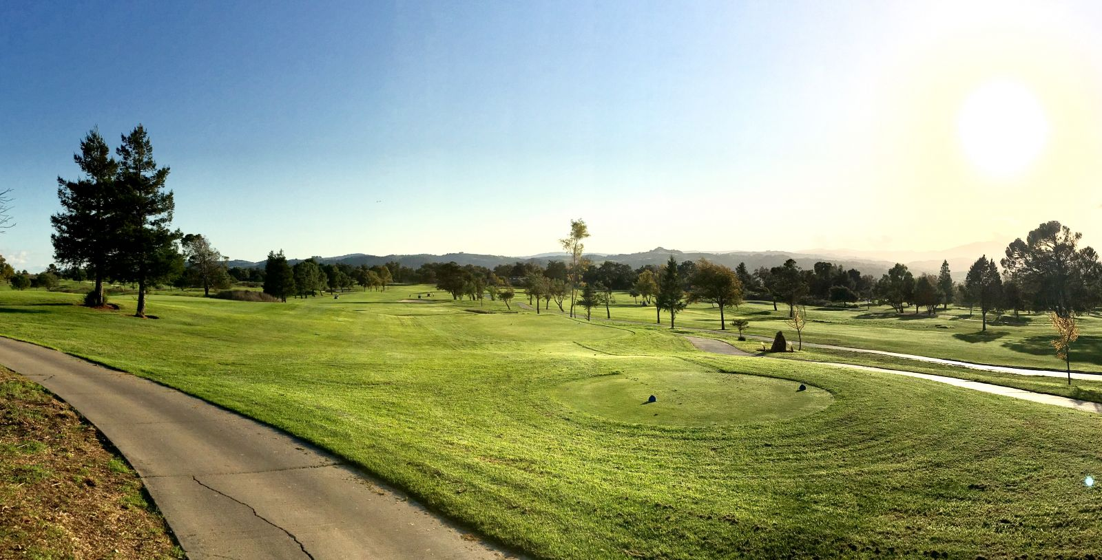 Sun starting to set at Coyote Creek Golf Club
