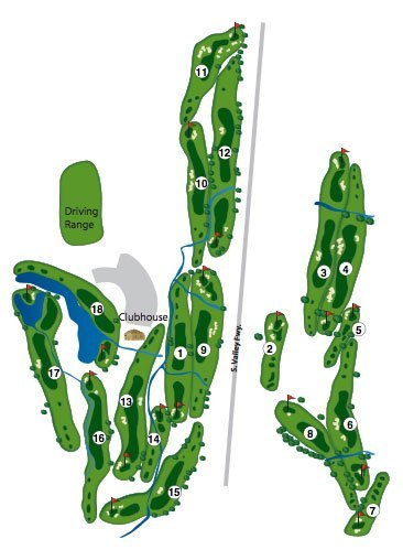 Course map of the tournament course at Coyote Creek Golf Club